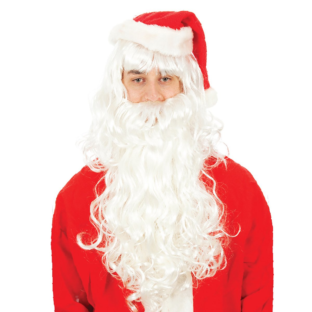 WTB Hair Santa Beard and Wig Set Santa Claus Father Christmas Wig Synthetic Hair Curly and Beard Set Deluxe White Santa Fancy Dress Costume with Christmas