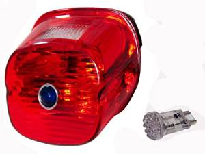 Red Laydown Taillight Lens with Blue Dot & Red L.e.d. Bulb for Harley's Late 2003 -2015
