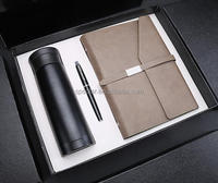 Luxury corporate anniversary souvenir gifts leather notebook card holder case pen set for customer