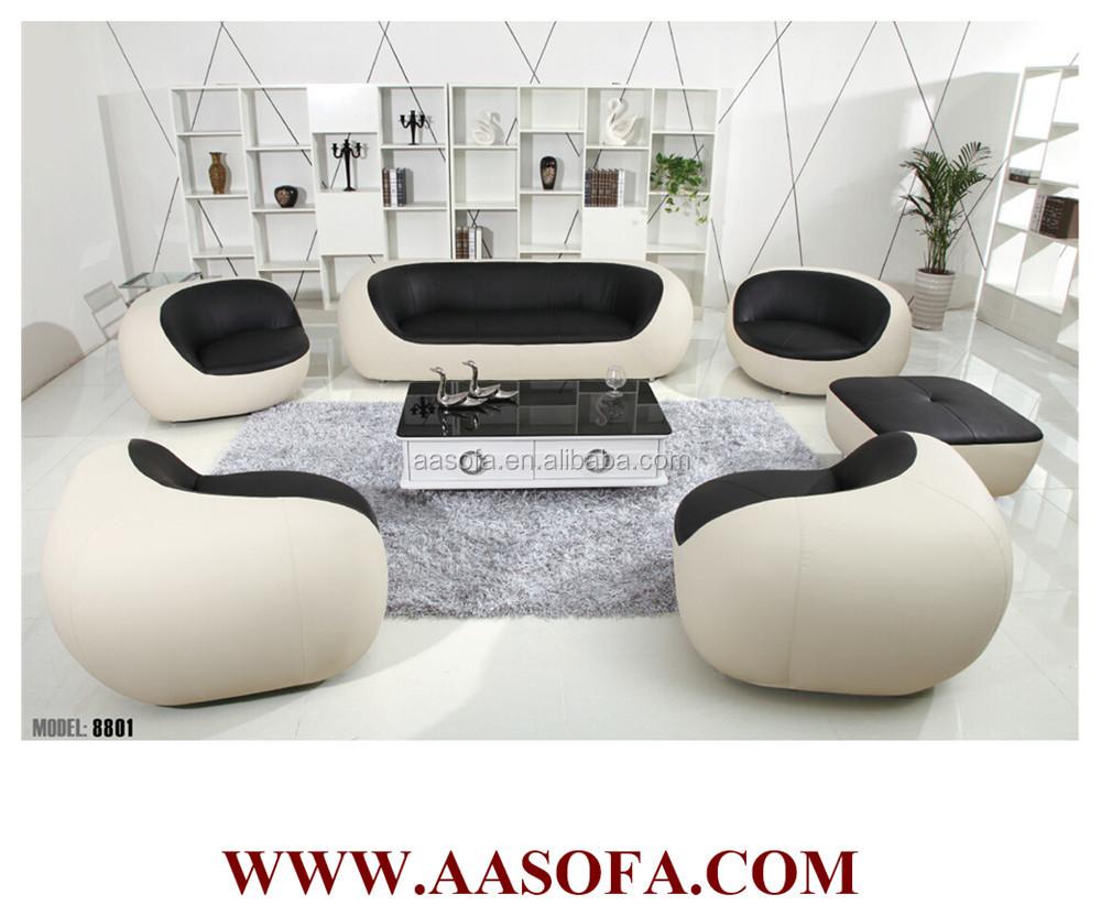 Lip gevormde ronde lederen fauteuil, loveseat banken woonkamer ...