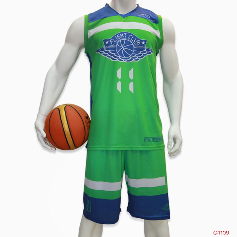 Sublimated Basketball Uniform Green Latest Basketball Jersey Design