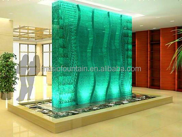 Hotel restaurant mall unique indoor glass water wall for Waterfall restaurant design