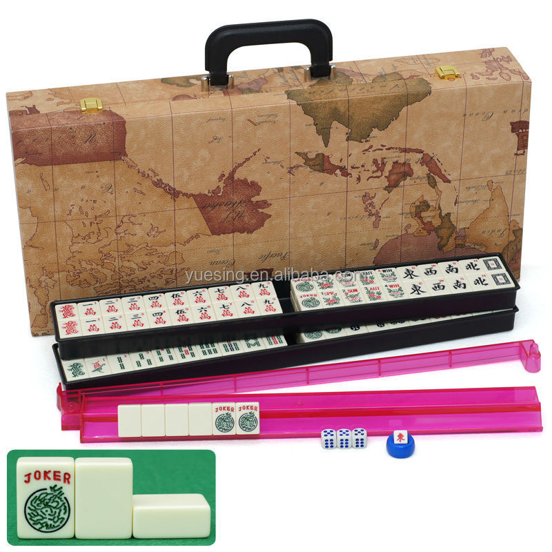 2015 New Style Ivory Mahjong Tiles with Map PU Case