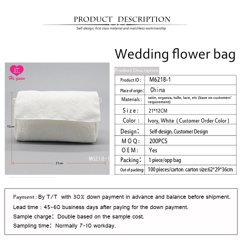 M6218-1 Excellent Embroidery Bridal Bag Wedding Folding Flower Shape Bag
