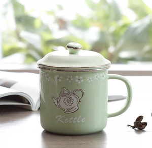 High quality customized printed green color tea coffee ceramic mug with lid