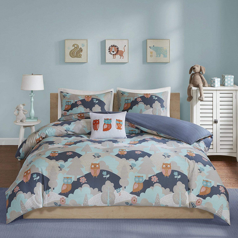 D&H 3 Piece Girls Navy Grey Orange Owls Design Comforter Twin Set, Multi Color Novelty Themed Bird Animal Rolling Hills Lush Trees Printed, Reversible Blue Kids Bedding Teen Bedroom, Percale Cotton