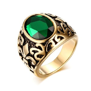Men Green gold High Polished Gold Plated Jewelry Stainless Steel S Letter Ring With Natural Stone