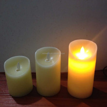 3pcs flamless moving wick real wax candles led paraffin pillar yellow flickering candles led flameless candles