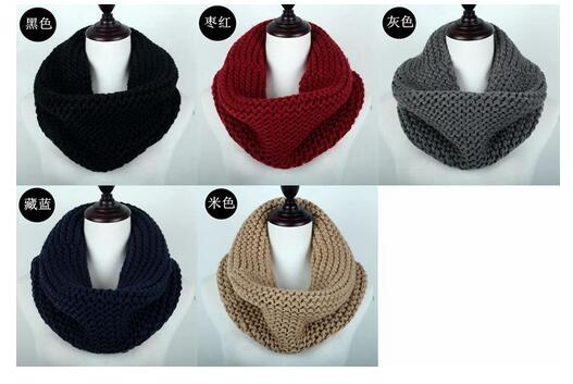 10d35b3920f29 Women One Circle Hand Knit Scarf Infinity Scarves Winter Muffler ...