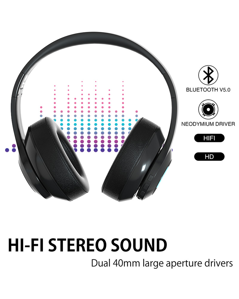 BH10 OEM Custom Logo Bt V5.0 LED Light Stereo Headset Bluetooth Sport Headphone untuk Ponsel