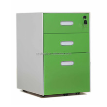Colorful office movable pedestal acrylic crystal concave handle file pedestal office steel cabinet