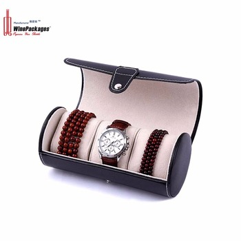 Elegant leather manual watch box for three watches