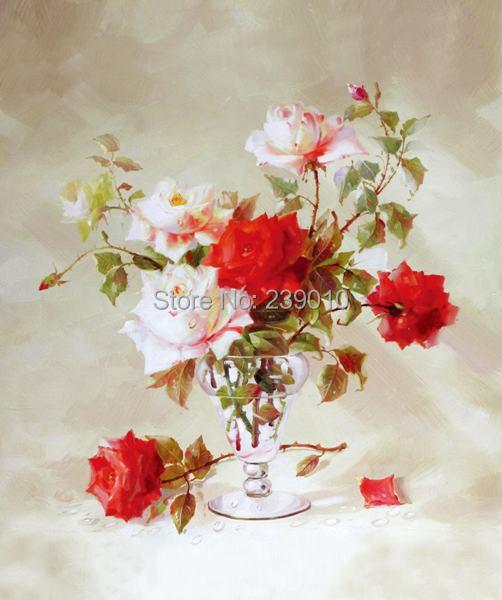 livraison gratuite r aliste fleurs peinture l 39 huile toile nature morte peinture l 39 huile sur. Black Bedroom Furniture Sets. Home Design Ideas