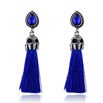 Retro vintage silver plating online shopping blue tassels earrings, Boho earrings for women jewelry