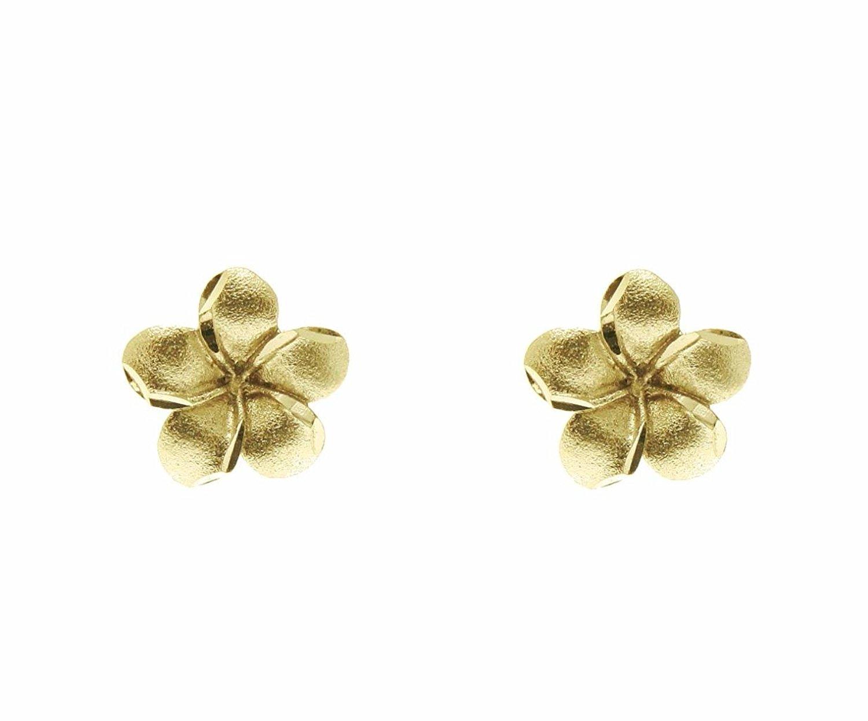 Buy 14k Yellow Gold Small Hawaiian Plumeria Flower Earrings In Cheap