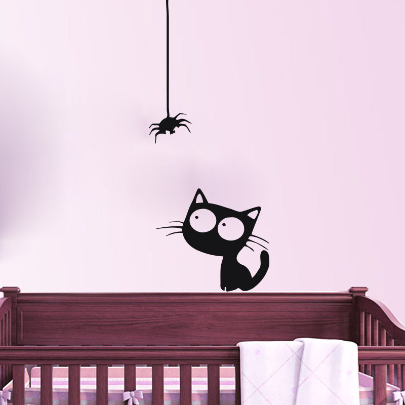 DIY Home Decor Cute Cat Watch A Spider Wall Sticker Babys Room Vinyl Art Decals For Bedroom