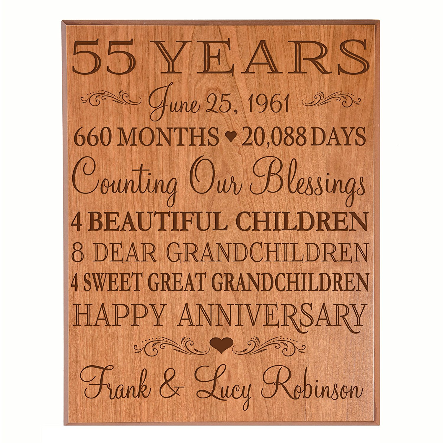 """Personalized 55th Anniversary Gifts for him her Couple parents, Custom Made 55 year Anniversary Gifts ideas Wall Plaque 12"""" x 15"""" By Dayspring Milestones (Cherry Veneer Wood)"""