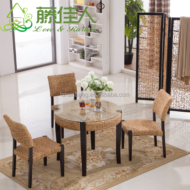 2016 New Modern Design Rattan Water Hyacinth Wooden Coffee Tables And Chairs Set
