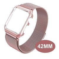 42mm Men Sport Wrist Strap Mesh Magnetic Stainless Steel Milanese Watch Band Loop For Apple Watch