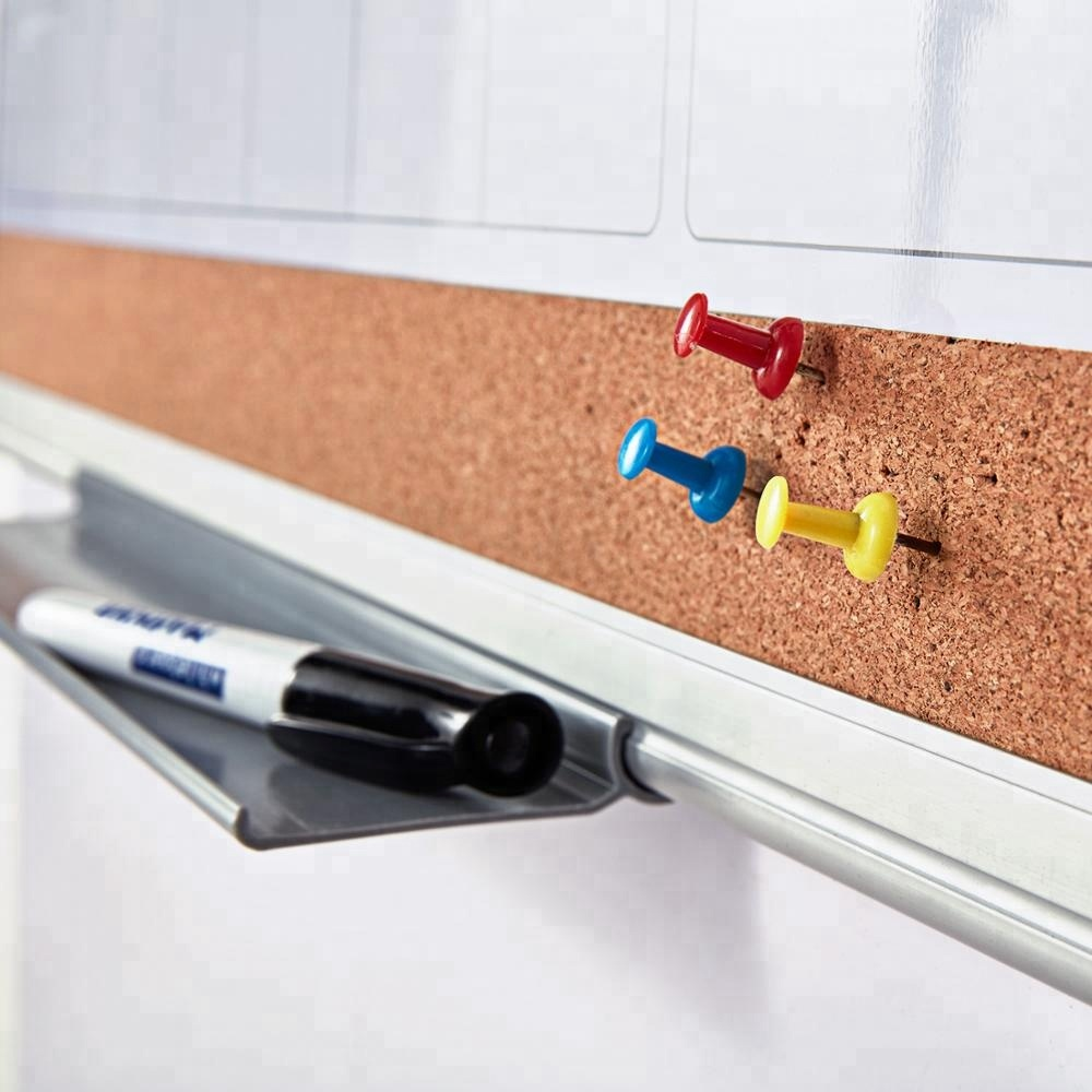 New Arrival 3 in 1 Wall Mounted Magnetic Dry Erase White and Cork Board Message Notice Board Monthly Planning Whiteboard