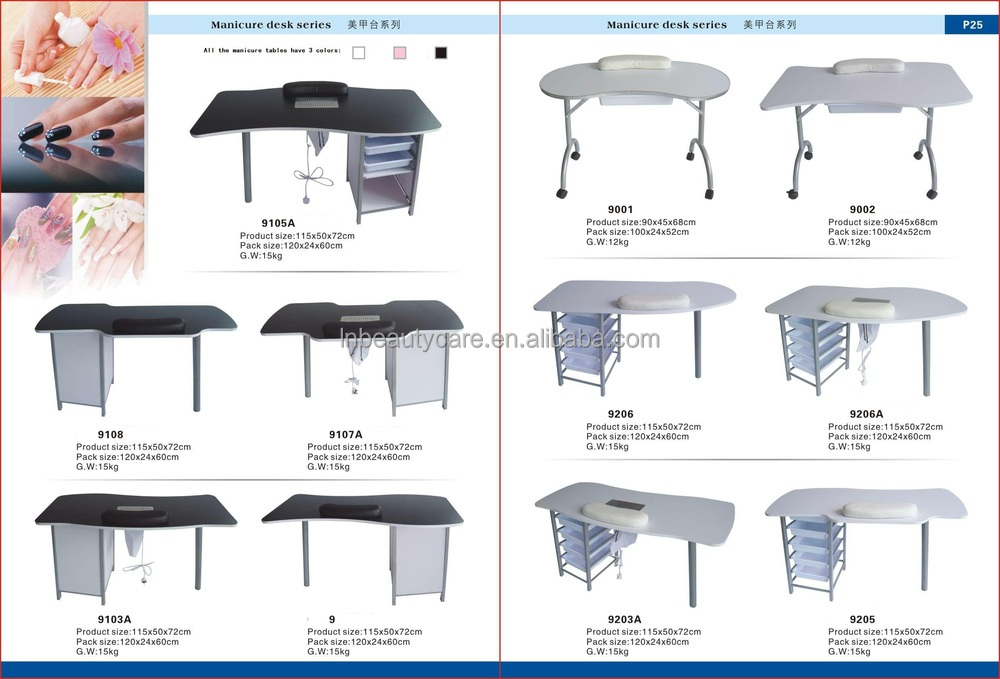 Fixed manicure technician table nail station desk with for Manicure table with extractor fan