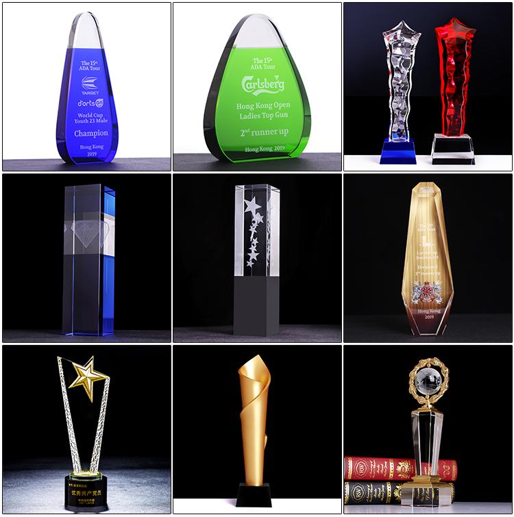 Yiwu Fornecedor Coluna Torcida Em Branco Barato Vidro Troféu Prêmios Para A Competição Prêmios Presente