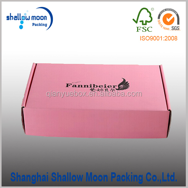 Square full printing pink paper shipping box