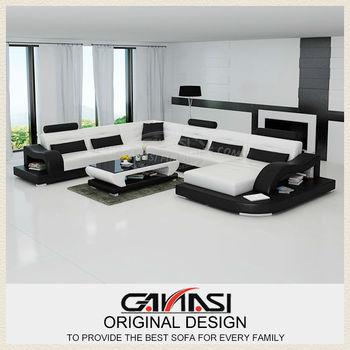 Black And White Home Leather Sofa Set Luxury Home Sofa Furniture