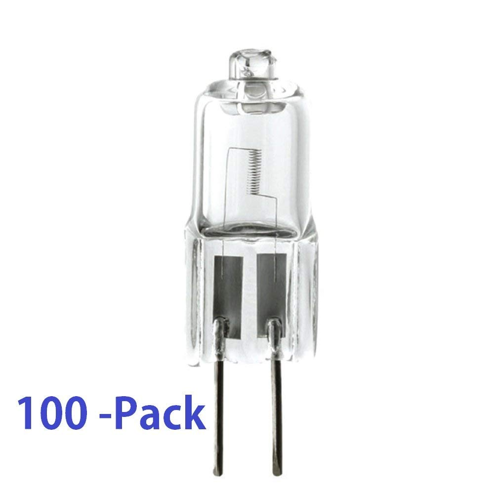 (100 Pack) 10-Watt G4 Bi-Pin Base JC Type 12-Volt Halogen Quartz T3 Light Bulb