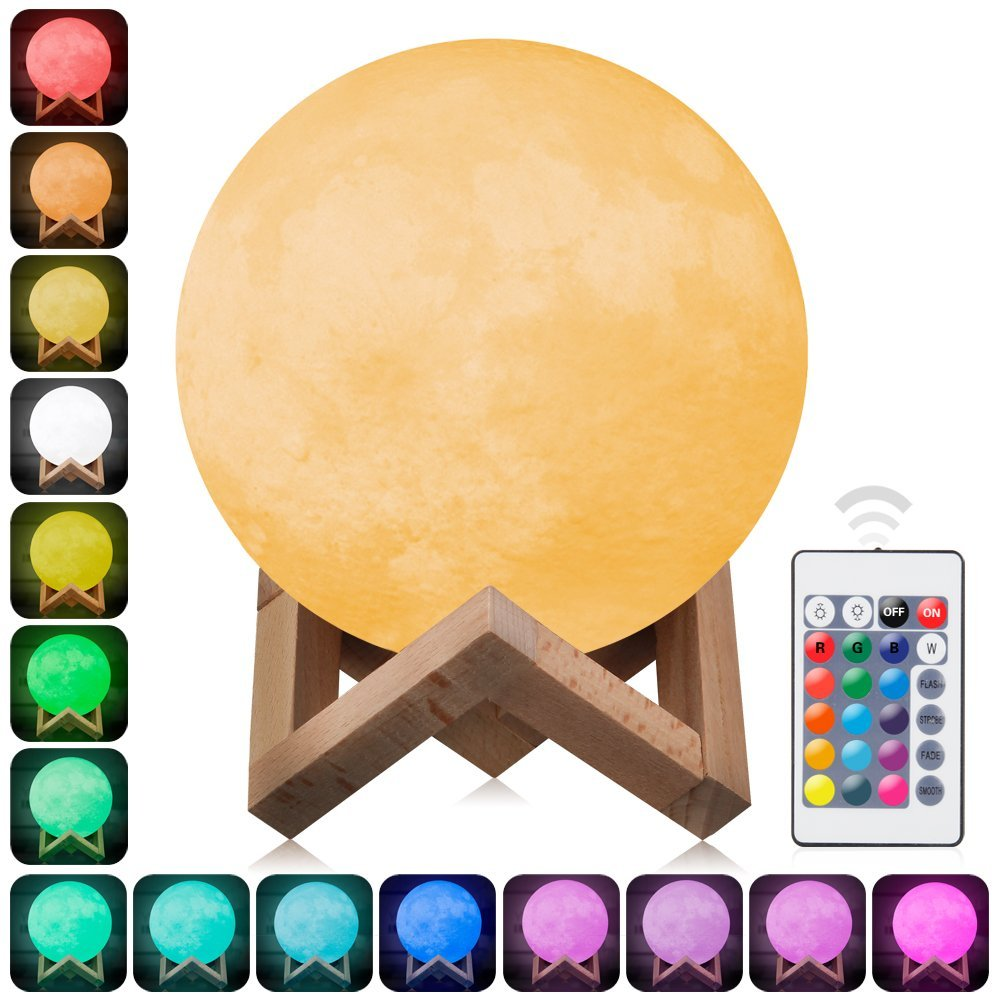 3D Moon Lamp Printed Night Light ,Elstey Remote Control 16 Colors Change Optical Illusion LED Lunar Moonlight Globe Ball with Wood Stand Base for Kids Room Baby Nursery Bedroom Decor Diameter 15CM