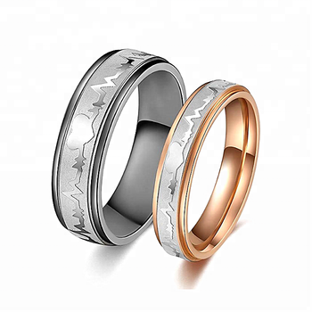 14476ae7dcd8e Titanium Stainless Steel Heartbeat Wedding Band Anniversary Engagement  Promise Couple Ring, View couple love band rings, QL/OEM Product Details  from ...