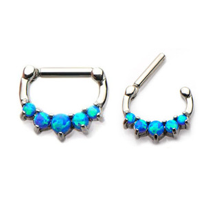 Synthetic opal jewelry of stainless steel septum clicker