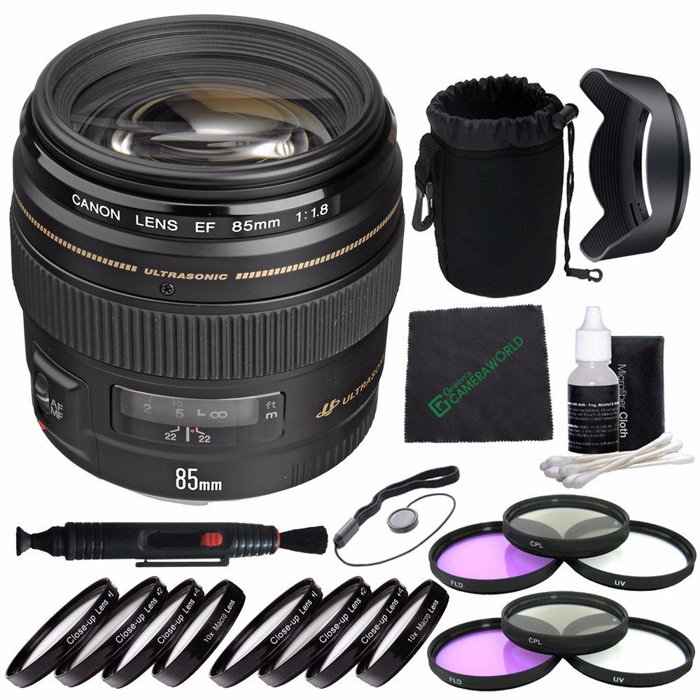 Canon EF 85mm f/1.8 USM Lens + 58mm 3 Piece Filter Set (UV, CPL, FL) + 58mm +1 +2 +4 +10 Close-Up Macro Filter Set with Pouch + SLR Lens Pouch + Lens Cleaning Pen + Lens Hood + Cleaning Cloth Bundle 7
