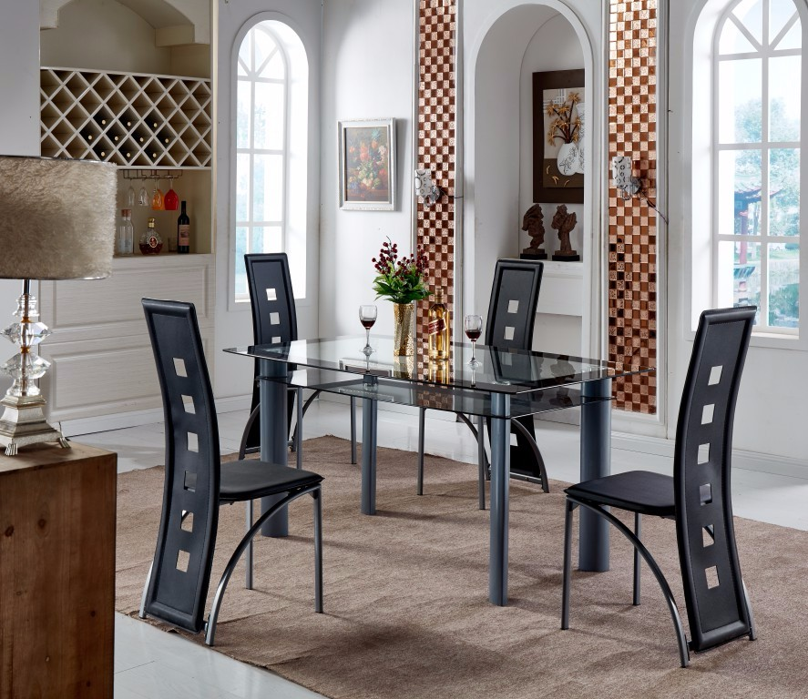 Glass Dining Table 6 Chairs Set Glass Dining Table 6 Chairs Set