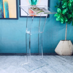 Cheap Transparent Glass Demountable Floor Lectern Acrylic Podium for Speech