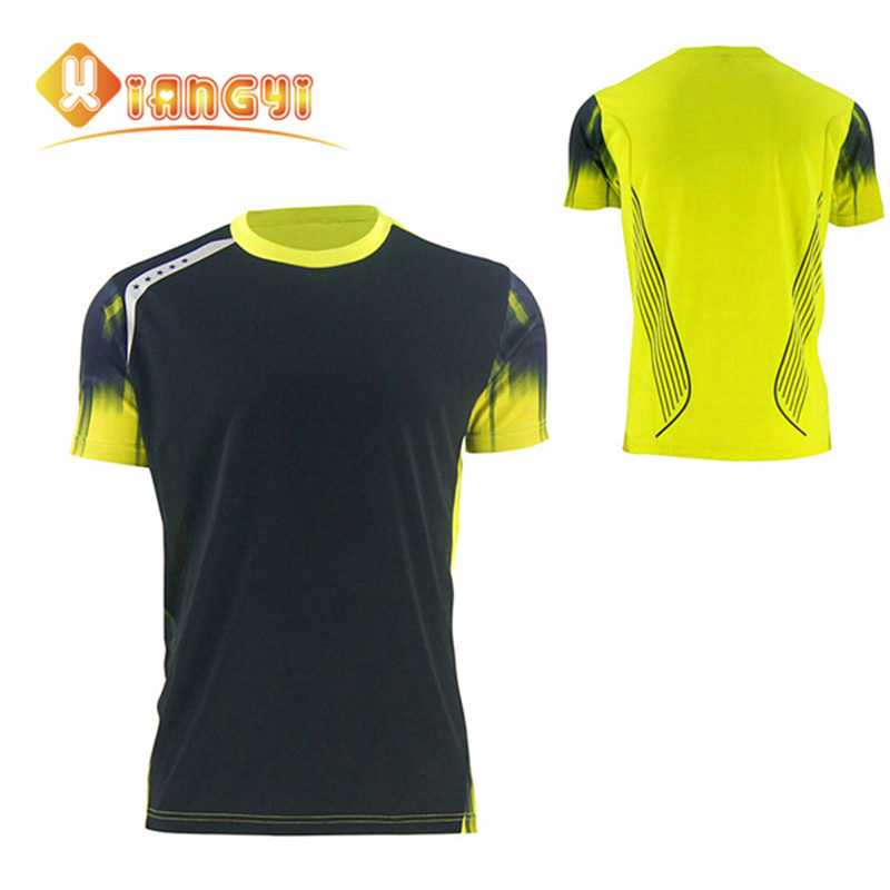 Running Shirt Men Outdoor Bodybuilding And Fitness Sport Jersey Red Black Short Polyester Supermen M-3XL Free shipping