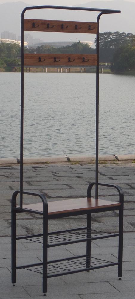 De hierro de Metal 3-niveles estantes ahorro de espacio de almacenamiento de calzado Banco hall árbol entrada rack con 18 ganchos Y Banco