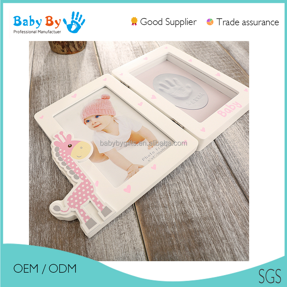 2016 baby souvenir- factury wholesale cute baby hand print frame with handprint and footprint