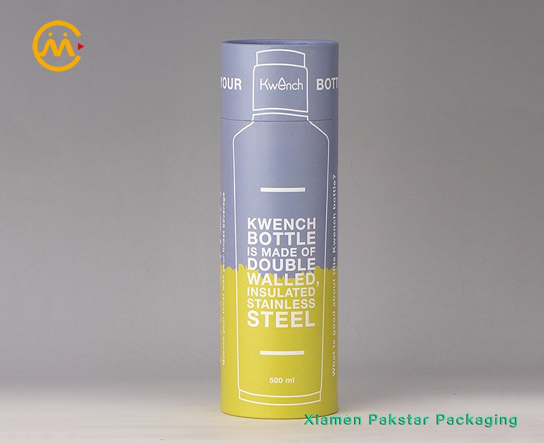 Wholesale custom printed round cylinder empty cardboard paper bottle packaging tube