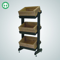 Made in China 3 Tiers Wooden Display Rack with Wheels