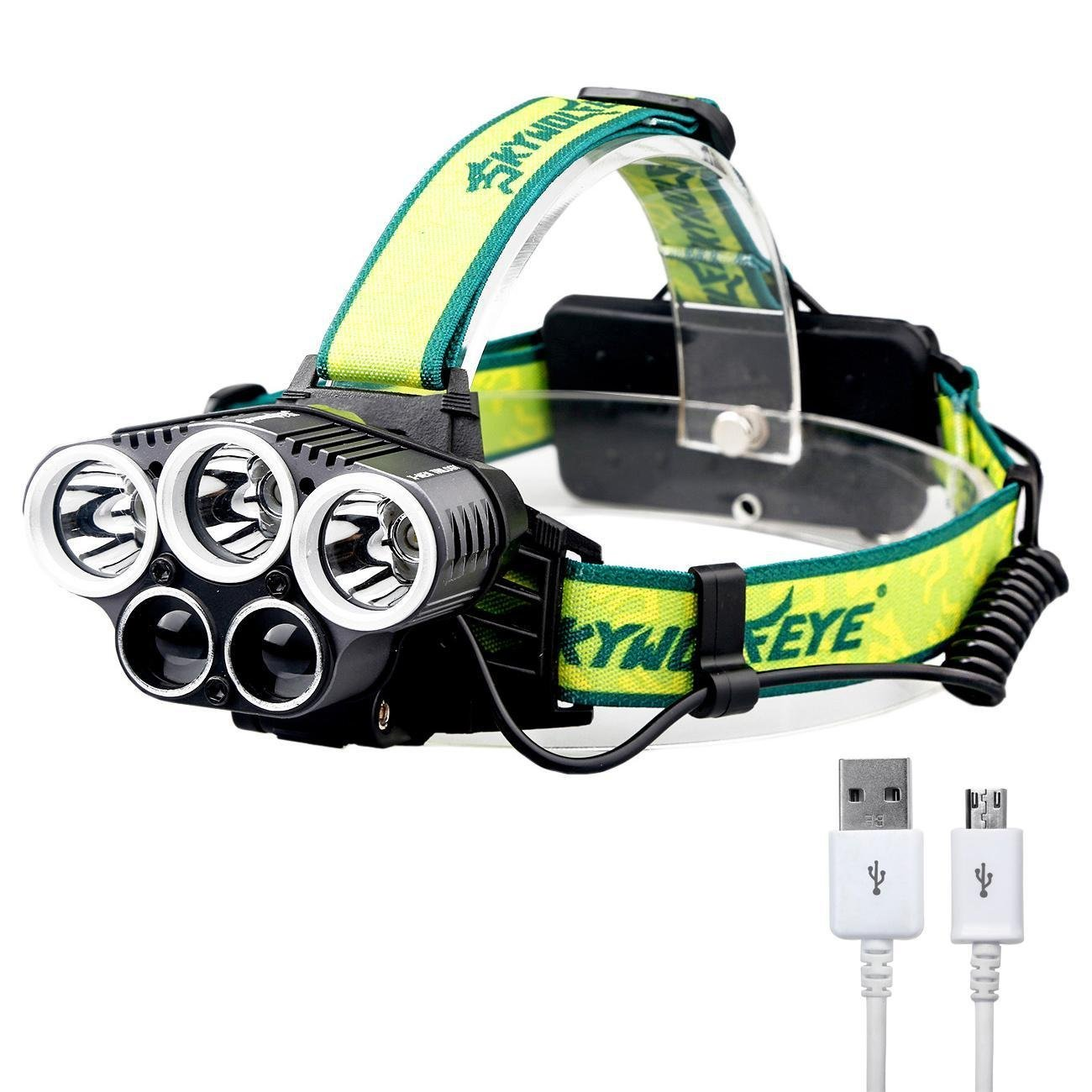 Rechargeable Headlamp,1500 Lumen Castnoo 5 Mode T6 LED Headlamp Flashlight with 5 White Led Light for Camping,2x18650 Batteries(Not Included)