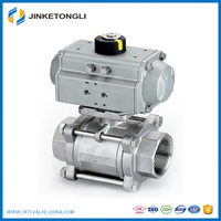 Stainless Steel Thread Pneumatic Actuator Ball Valve Use For Air Water Gas Steam JKTL B051L