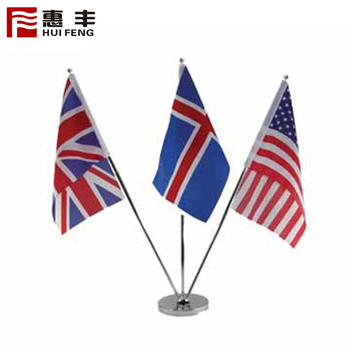 Single Plastic Table Flag With Metal Gold Holder