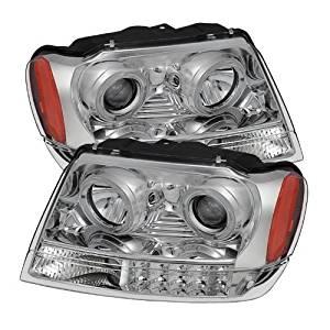 Spyder Auto (PRO-JH-JGC99-LED-C) Jeep Grand Cherokee Chrome Halogen LED Projector Headlight - Pair