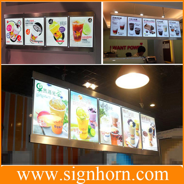 restauration rapide menu board lat rale unique ou double c t s hanging wall restaurant de. Black Bedroom Furniture Sets. Home Design Ideas