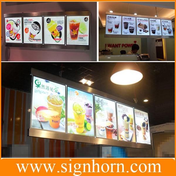 restauration rapide menu board lat rale unique ou double c t s hanging wall restaurant de. Black Bedroom Furniture Sets. Home Design Ideas