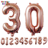 40inches Rose Gold Number Foil Balloons Large Digit Helium Balloons Wedding Decorations Birthday Party Supplies Baby Show KBF100