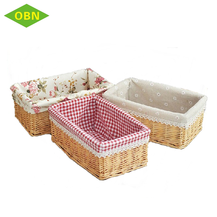 Hot New Binet Rectangular Willow Baby Clothing Wicker Storage Basket With Fabric Lining