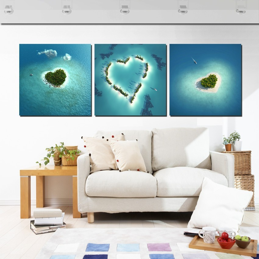 Modern Home Decoration Wall Painting Blue Seascape Romantic Love Island Pictures Canvas Prints For Living Room Decor Set of 3PCS