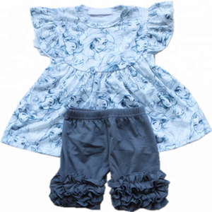 2018 Summer Little Angel Beautiful Cotton Clothes And Gray Pants Set